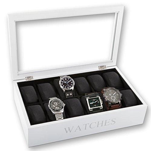 Uhrenbox für 12 Uhren inkl. Uhrenkissen im edlem Design schwarz oder weiß...