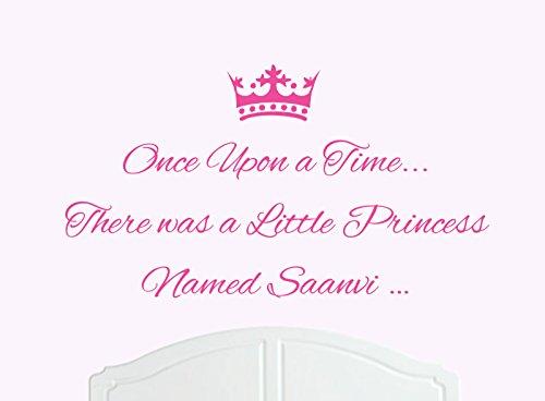ONCE UPON A TIME THERE WAS A LITTLE PRINCESS LLAMADO SAANVI GRANDE ADHESIVO DECORATIVO PARA PARED/DE VINILO CAMA HABITACION ARTE CHICA/BEBE