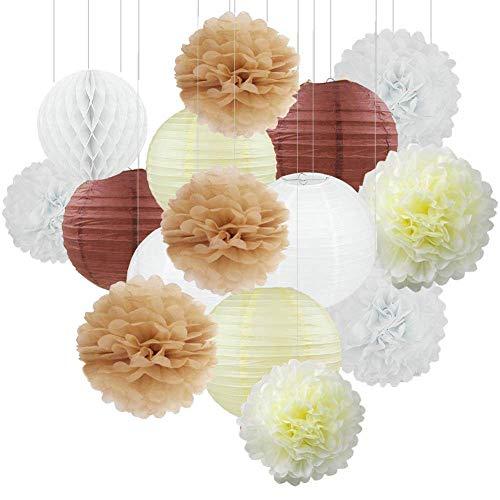 15 STÜCKE Creme Tan Weiß Party Papier Kit Tissue Pom Poms Papierlaterne Honeycomball Rustikale Hochzeit Vintage Baby Shower Kindergarten Dekoration