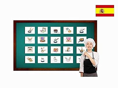 Bildkarten zur Sprachförderung in Spanisch - Essensvorbereitung - Tarjetas de vocabulario - Preparación de alimentos