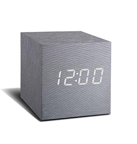 Cube Click  Clock Aluminium / White Led