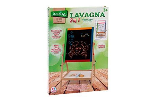 Legnoland - Lavagna in Legno 2 in 1, Altezza Regolabile, <65Cm C/Gessi