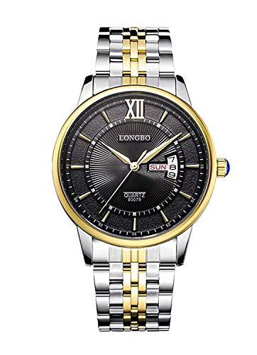HUAIX Home Zwei-Ton-Paar Uhren Edelstahl Damen Quarz Uhren Gold Case Woche und Datum (Zwei-ton-uhren Frauen Für)