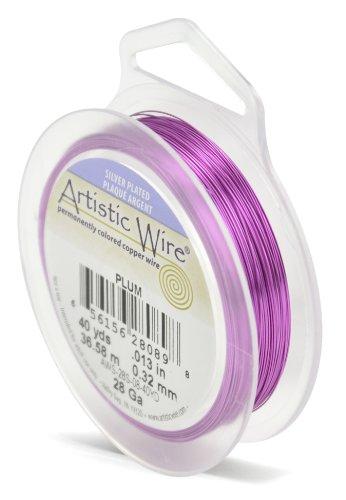 Artistic Wire Beadalon 40 914 28-Câble plaqué argent calibre de prune