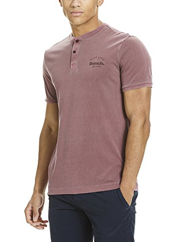 Bench Herren T-Shirt Ss Henley Rot (Burgundy BU018)