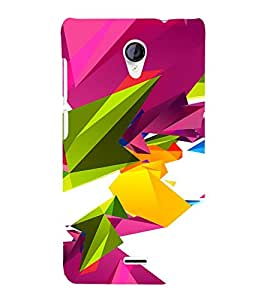 PrintVisa Colorful Modern Art 3D Hard Polycarbonate Designer Back Case Cover for Micromax Unite 2 A106