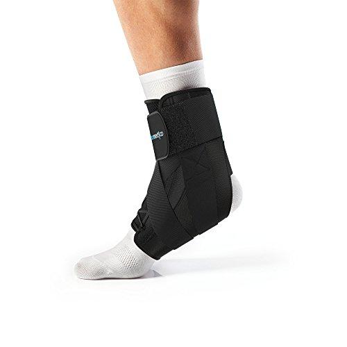 Bonmedico Stato Fuß-Bandage mit Schnürung und Seitenstützen, Sprunggelenkbandage mit Kreuz-Befestigungsband zur Stabilisierung, Fussgelenkstütze Für Den Linken Oder Rechten Fuß (L)