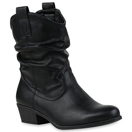 Damen Cowboy Boots Western Stiefeletten Stiefel Schwarz