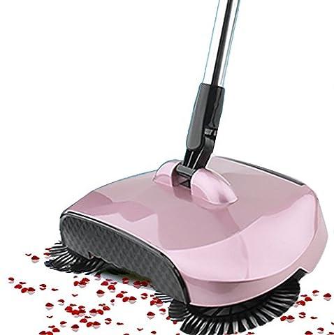 Buwico 3 en 1 Sweeper automatique Poussez la main Broom Robot, 360 Sweeper Rotary Sans électrique balayette balayette Dustpan Trash (Rose)