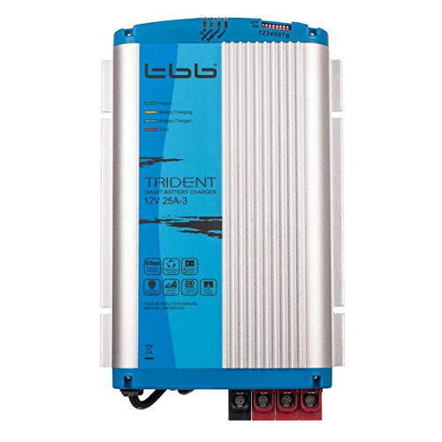 Trident TBB Power BP1225-3A Ladegerät, 12V, 25A, 3 Ausgänge, mit 1.5m Kabel und Temperatur Sensor, für KFZ, LKW, Wohnmobil, Boot, Blau und Silber -