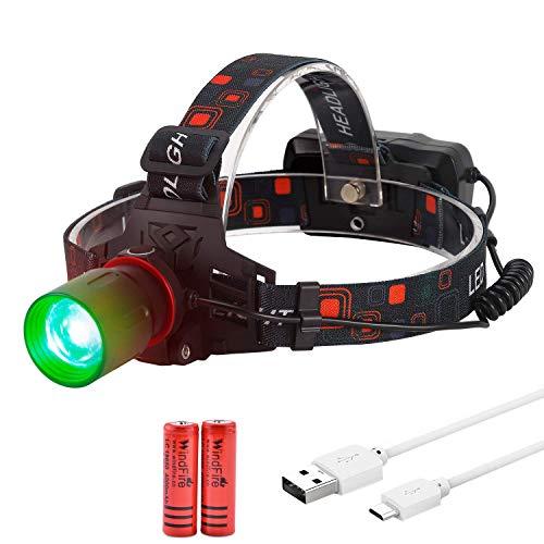 Linterna verde LED 800 lúmenes lámpara luz cabeza