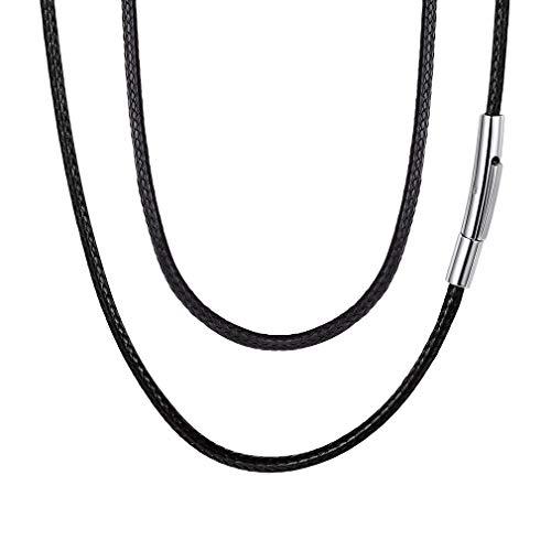 FaithHeart 2mm Lederkette Halskette Lederband Kette Karabiner Edelstahl Kette für Anhänger