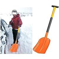 NJXM Pala de Nieve, Nieve Pala Coche retráctil, Remoción de Nieve Plegable Herramienta para el Coche, Acampar al Aire Libre, jardín y Actividades al Aire Libre,Naranja