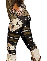 fafe2e3f0f8a7 Decha Femme Legging de Noël Imprimé Stretch Collant Slim Yoga Fitness  Jogger Taille Haute Élastique Pants