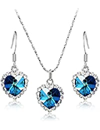 Youbella Gracias Collection Swiss Zircon Jewellery Exclusive Heart Shaped Necklace Set With Earrings For Women