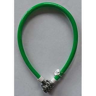 abereda 43.002 3-Zahlen Kabelschloss 4mm Stahlseil / 8mm Kunststoffummantelt - 50cm - Level 1 (grün)