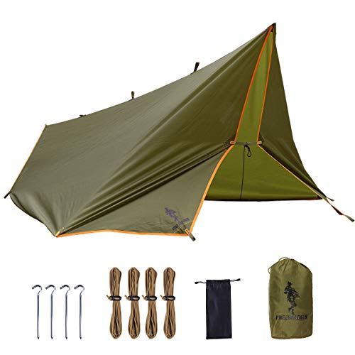FREE SOLDIER Tarp Wasserdicht 3m x 3,2m Tarp Ultraleicht Zeltplanen UV Schutz Camping Sonnensegel Freien Multifunktionales Große Tarp für Camping, Wandern, Outdoor-Aktivitäten (Mit Befestigungsnägel)