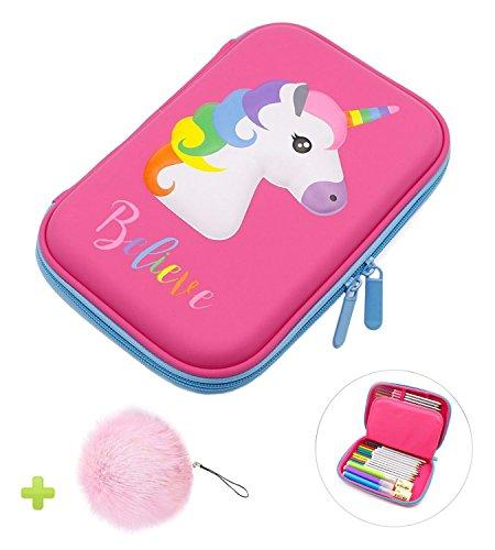 Astuccio, unicorno eva pastello scatola di cancelleria anti shock grande capacità multiscomparto per la scuola studenti ragazze adolescenti bambini (rosa)