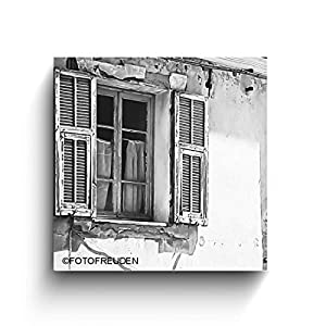 Altes Fenster, Italien Bilder, schwarz weiß Foto auf Holz, Handmade, verschiedene Größen