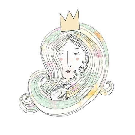 La Princesse et la Grenouille par ogren, Sarah–Fine Art Print Disponible sur papier et toile, Toile, SMALL (24 x 24 Inches )