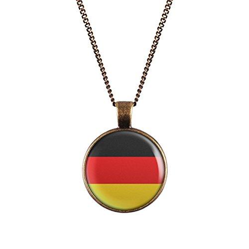 Deutschland Halskette - ca. 70cm lange Kette - Flagge Schland Anhänger Schwarz Rot Gold Flagge Fahne Germany -