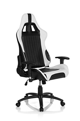 hjh OFFICE 729070 Gaming PC Stuhl MONACO II Lederimitat schwarz weiß, feste Polsterung, ideal zum...