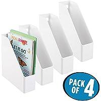 mDesign Set de archivador de plástico – 4 unidades – El perfecto organizador de papeles para periódicos, revistas, papeles y demás – Revistero de plástico