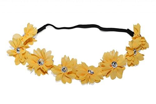 Lux Accessories - Gelbe Stoffblumen Floral Klar Strass Stretch-Haarb Florales Kopf B Gelb-hochzeit Bevorzugungen