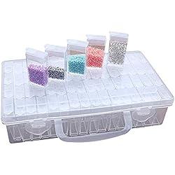 Sprießen 22.5x13.5x5.5CM Boîte de Rangement en Diamant Brodé 64 Boîte en Plastique Transparente Grille Étiquette boîtes de peinture de diamant Accessoires pour clous, strass, perles, bricolage