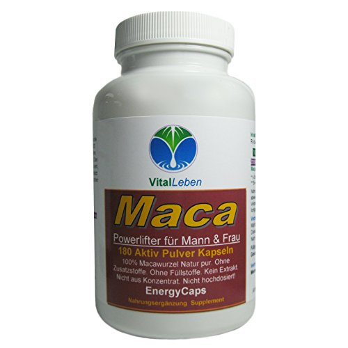 MACA Root Power Lifter Energy Caps für Vitalität & Libido Mann & Frau 180 Wurzel Pulver Kapseln #25090   100% Natur pur (Peru)   Premium Qualität....