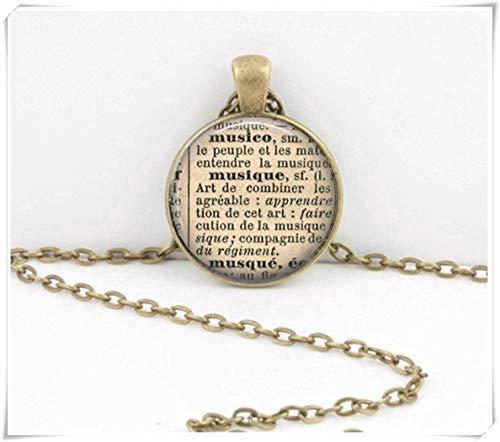 Musik-Halskette, französisches Wörterbuch, Anhänger aus Glas, kuppelförmig, handgefertigt