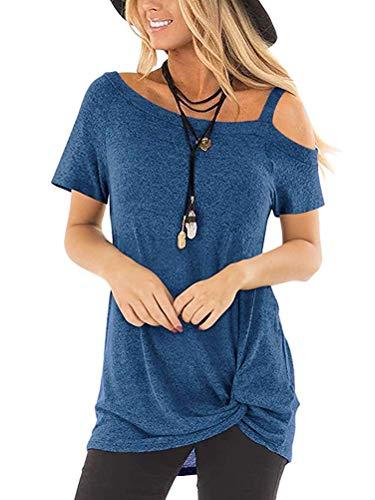 mmer T-Shirt Casual Kurzarm Schulterfrei Oberteil Tops Cut Out Shirt Bluse Blau DE 38 ()