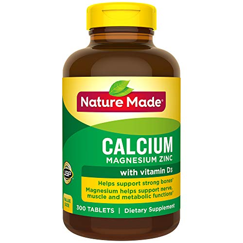 Nature Made Calcium Magnesium Zinc Tablets with Vitamin D, 300 Count -
