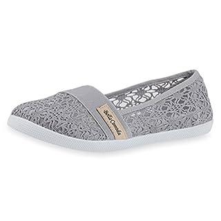 SCARPE VITA Sportliche Damen Ballerinas Slipper Spitze Stickereien Schuhe 160625 Grau Spitze 39