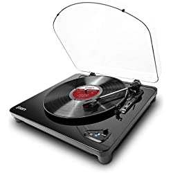 ION Audio Air LP - Platine Vinyle Bluetooth à Trois Vitesses avec Conversion USB - Finition Noir Brillant