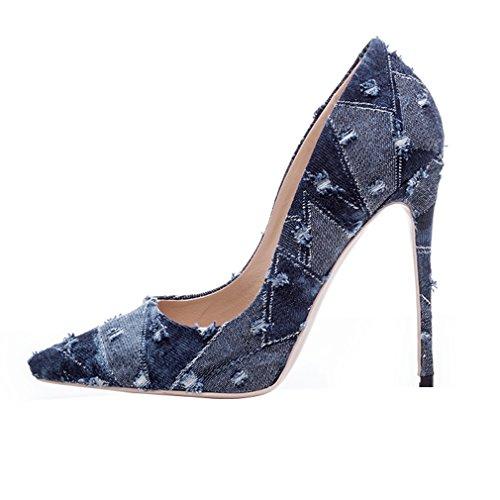 ENMAYER Tacchi alti Donna Tappetini punte a punta Slip-on Corte Pompini Dress Party Blu scuro