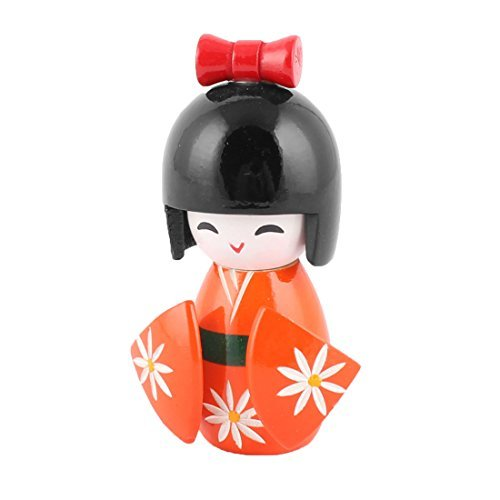 DealMux Holz Familie Japenese Kokeshi Puppe Desktop-Ornament Sammlung 11cm Höhe orange Sammlung 11