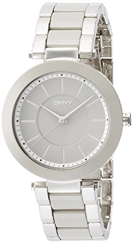 DKNY Damen-Armbanduhr 36mm Armband Keramik Grau + Gehäuse Batterie NY2462