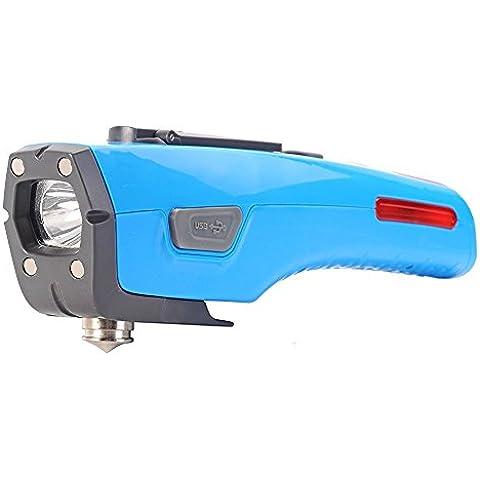 Auto strumento di emergenza, 6-in-1multifunzione auto sicurezza martello con finestra automatico, cintura di sicurezza Cutter, Torcia LED, SOS allarme, luce di emergenza, manovella di ricarica USB (Blu)