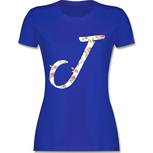 Anfangsbuchstaben - J Rosen - tailliertes Premium T-Shirt mit Rundhalsausschnitt für Damen Royalblau