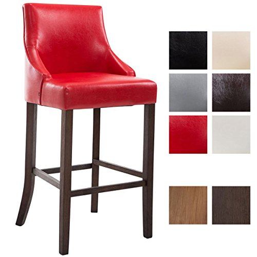 CLP Tabouret de Bar Innsbruck Similicuir Design Industriel I Chaise Haute de Bar Confortable avec Dossier et Repose-Pied Ergonomique I Couleur : Rouge, Piètement: Antique foncé