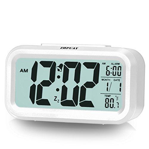 ZHPUAT Digital-Wecker Digitaluhr große LCD-Ziffern mit Hintergrundbeleuchtung Weiß -