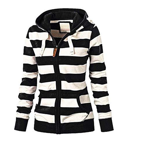 Zarupeng Damen Langarm Gestreiften Kapuzenjacke Hoodie Kapuzenpulli Mantel Sweatshirt Mit Reißverschluss Casual Slim Jumper Tops Sweatshirt Oxford