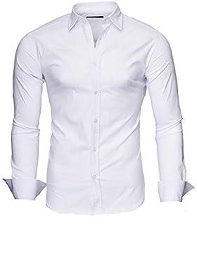 Kayhan Camicie Uomo Slim Fit Maniche Lunghe di Ferro Se necesario -Modello Plain 2017