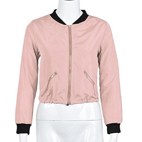 OverDose Damen Art und Weise feste Farbe kurze Reißverschluss Herbst Winter Straße Jacken Mantel Outwear Rosa
