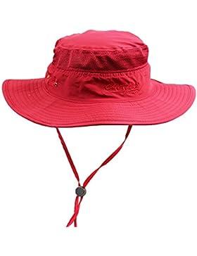 Genda 2Archer Hombres y mujeres unisex del sombrero del cubo del sombrero de ala ancha Sol con la correa de barbilla