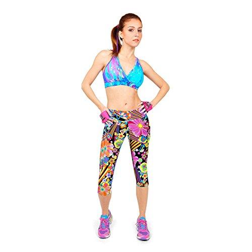 Culater® 1PC Confortables Pantalons taille Haute Aptitude Yoga Sport Imprimé Stretch Caleçons écourtés pourpre