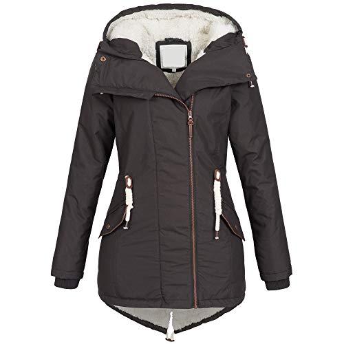 Azuonda Damen Winter Jacke Mantel Winterjacke Parka Wintermantel warm gefüttert Teddyfell Az98 XS-XXL, Größe:XL, Farbe:Charcoal