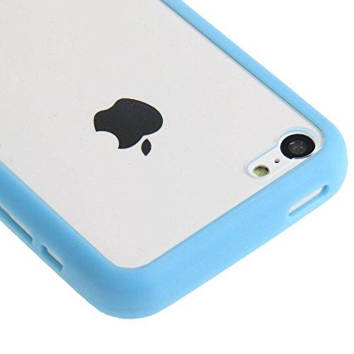 Wkae Case & Cover Transparent Plastic + Case Frame TPU pour iPhone 5C ( Color : Blue ) Blue