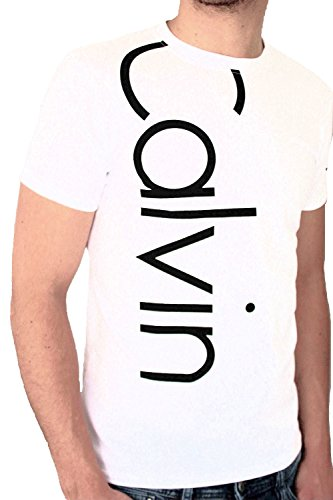 T-shirt calvin klein jeans da uomo a maniche corte, colore: bianco bianco xl